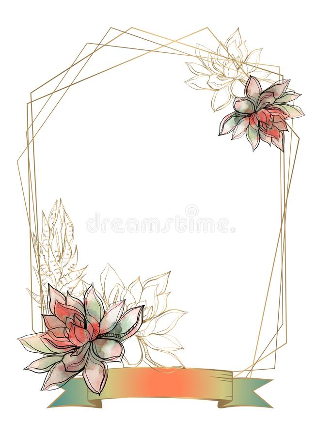 Goldrahmen mit Succulentsblumen watercolor graphiken Vektor vektor abbildung