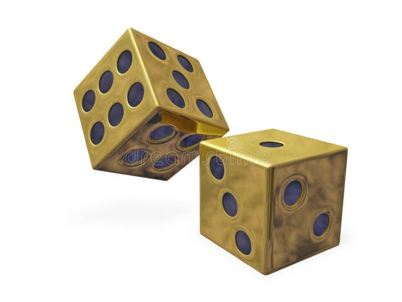 Goldrollen-Kasino-Würfel lizenzfreie abbildung