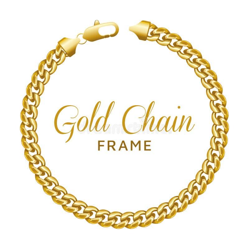 Goldrunder Grenzkettenrahmen Kranzkreisform mit einem Hummerverschluß lizenzfreie abbildung