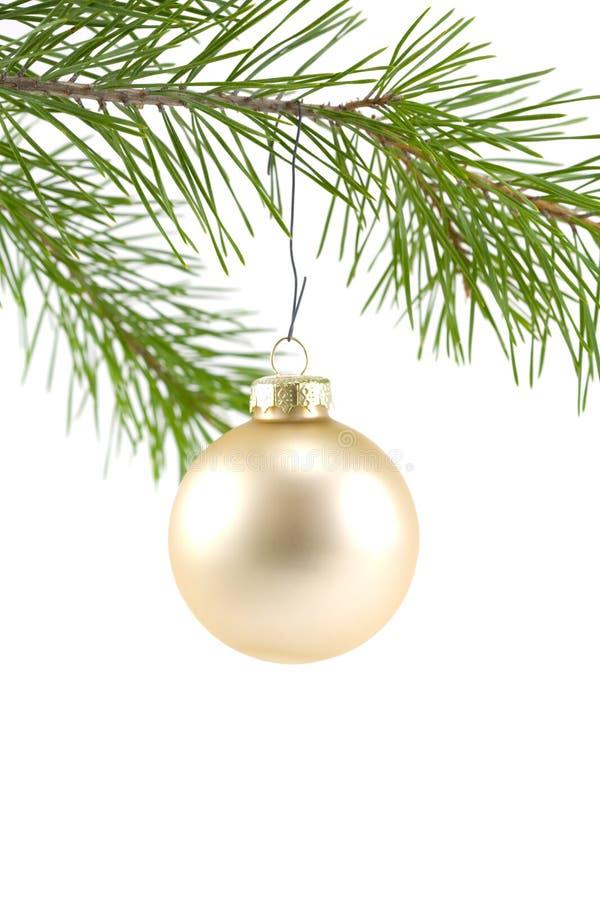 Goldsatin-Kugel-Weihnachten Orna Stockfotos