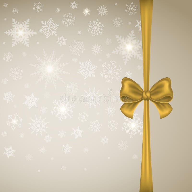 Goldsatinbogen mit Band auf einem Hintergrund von Schneeflocken Winter-Weihnachtshintergrundkarte oder -fahne vektor abbildung