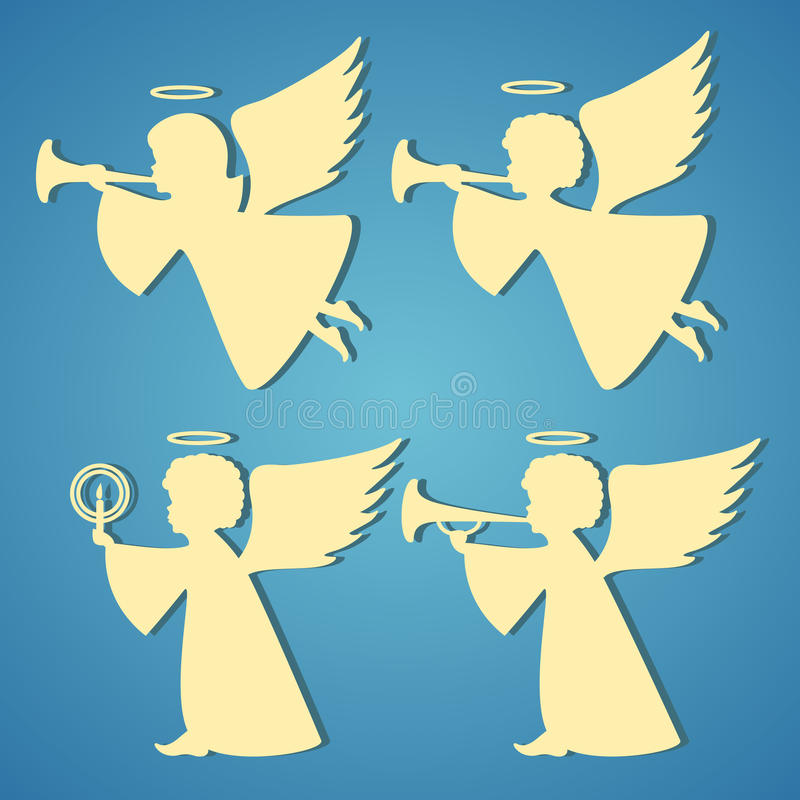 Goldschattenbilder von Engeln auf blauem Hintergrund stock abbildung