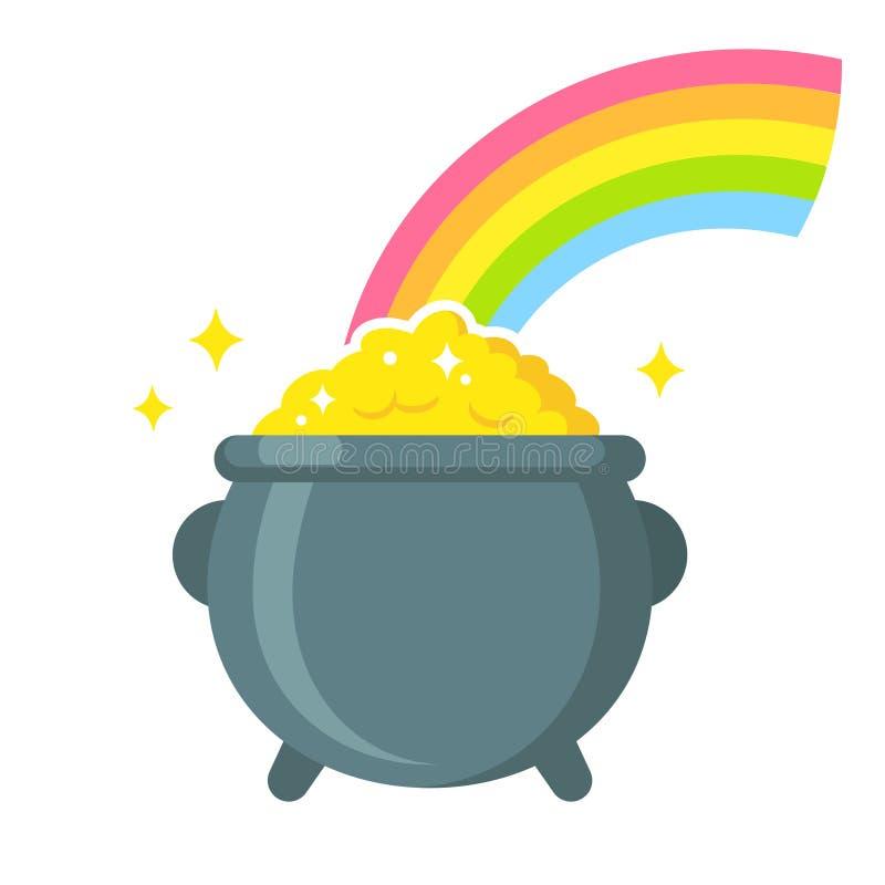 Goldschatz mit Regenbogen stock abbildung
