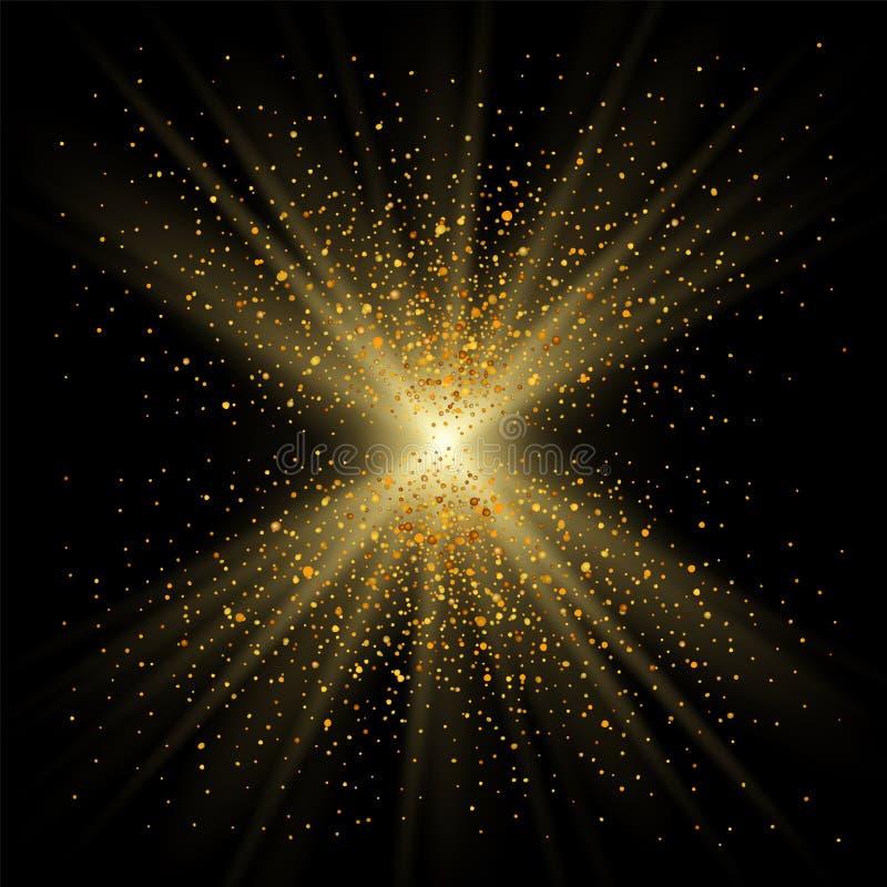 Goldschein auf schwarzem Hintergrund Goldenes helles Funkeln, Konfettibeschaffenheitsdekoration Glänzendes abstraktes Entwurf Wei vektor abbildung
