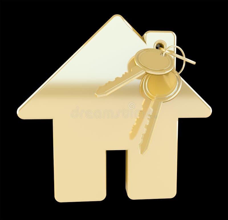Goldschlüssel mit Wiedergabe des Hausschlüsselrings 3D stock abbildung