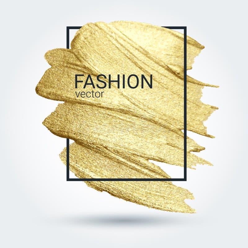 Goldschmutzbeschaffenheit in einem Rahmen Abstrich mit einer k?nstlerischen B?rste Ein gl?nzendes festliches Muster vektor abbildung