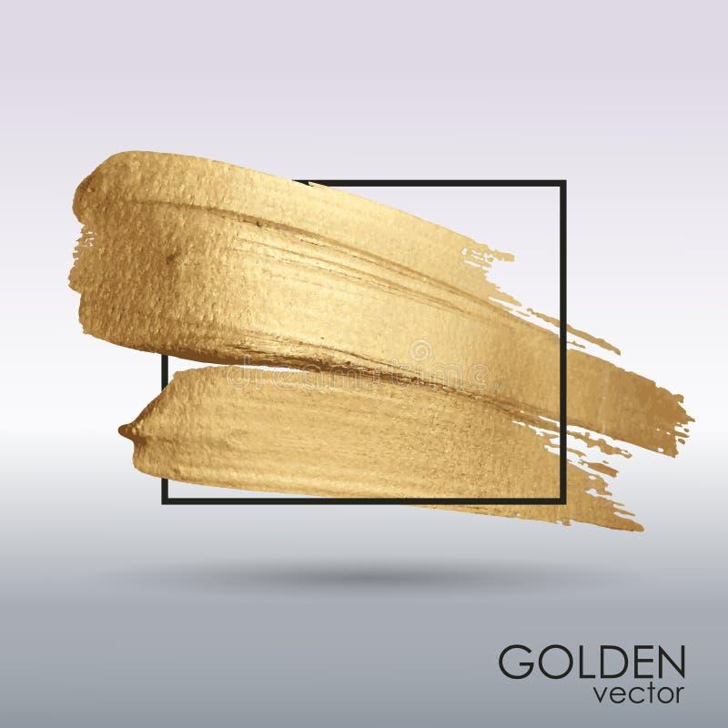 Goldschmutzbeschaffenheit in einem Rahmen brushstroke Abstrich mit einer künstlerischen Bürste stock abbildung