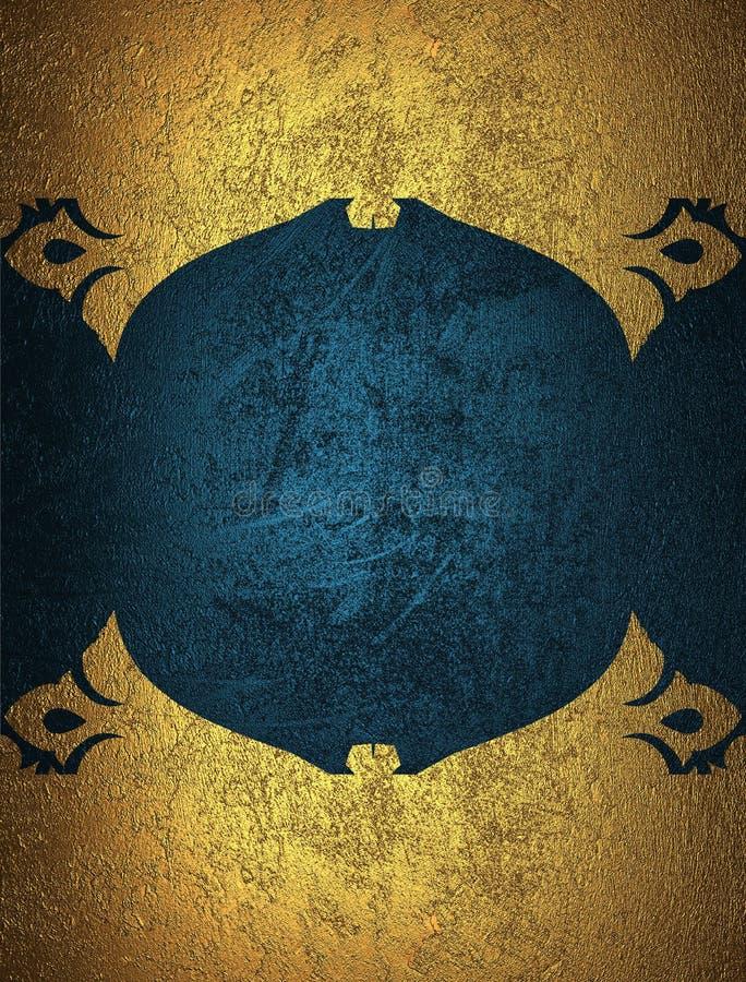 Goldschmutzrahmen mit blauem Hintergrund Element für Entwurf Schablone für Entwurf kopieren Sie Raum für Anzeigenbroschüre oder M lizenzfreie stockfotografie
