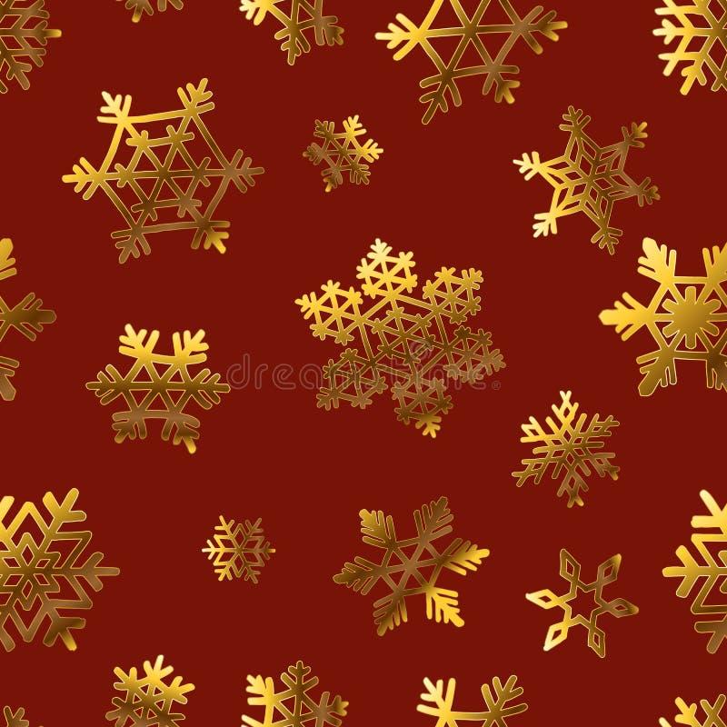 Goldschneeflocken auf Rot für Geschenkbox papper Muster