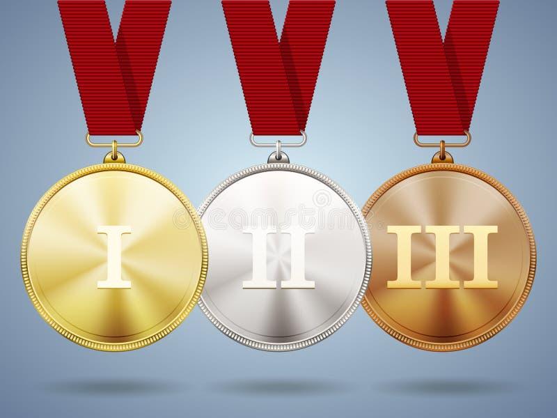 Goldsilber- und Bronzemedaillen auf Bändern vektor abbildung