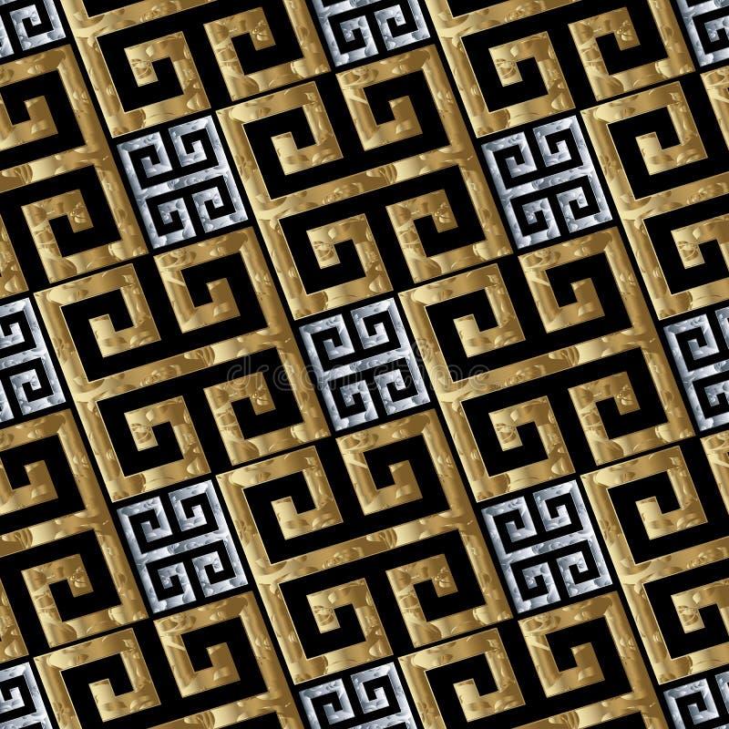 Goldsilberner griechischer Schlüssel schlängelt sich nahtloses Muster stock abbildung