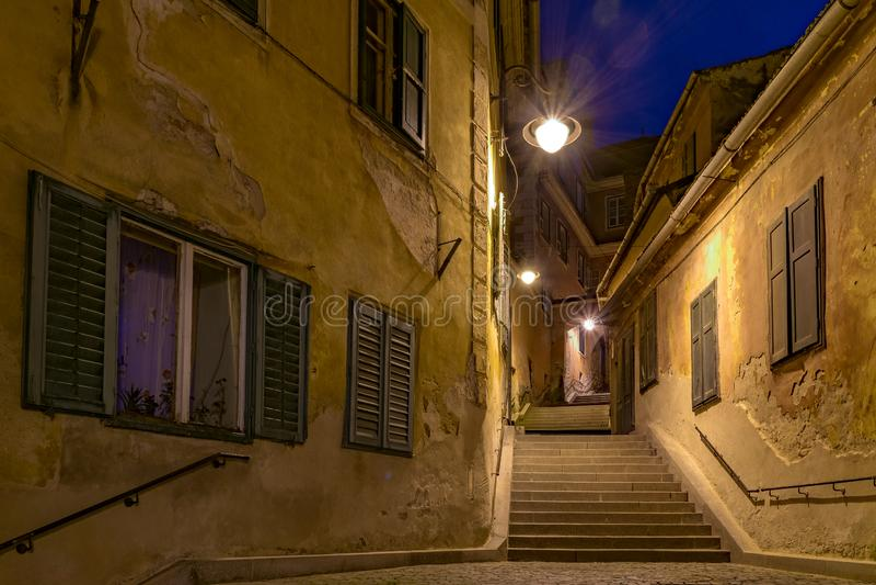 Goldsmith's Stairway Tower at night in Sibiu, Romania stock photo