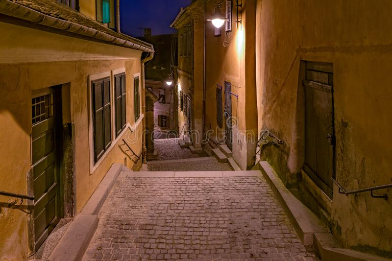 Goldsmith's Stairway Tower at night in Sibiu, Romania stock photography