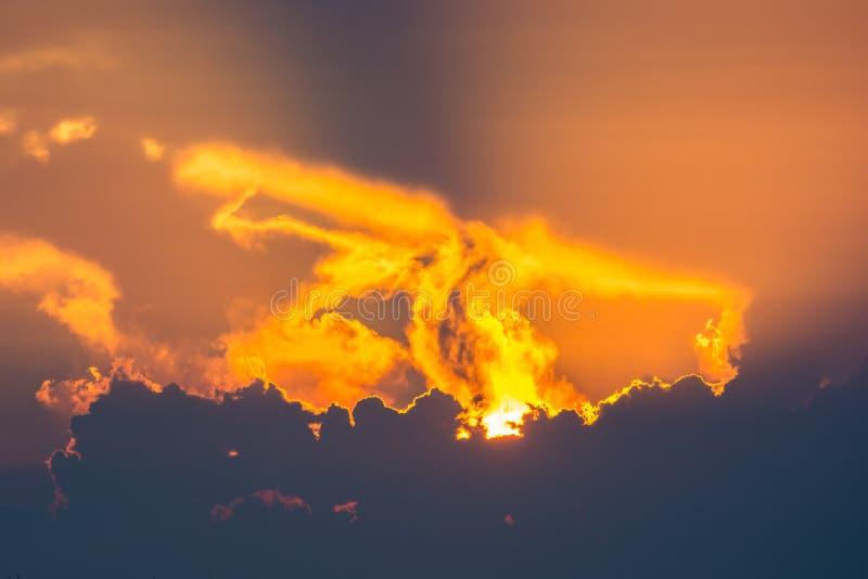 Goldsonnenuntergang des Sonnenlichts lizenzfreie stockfotos