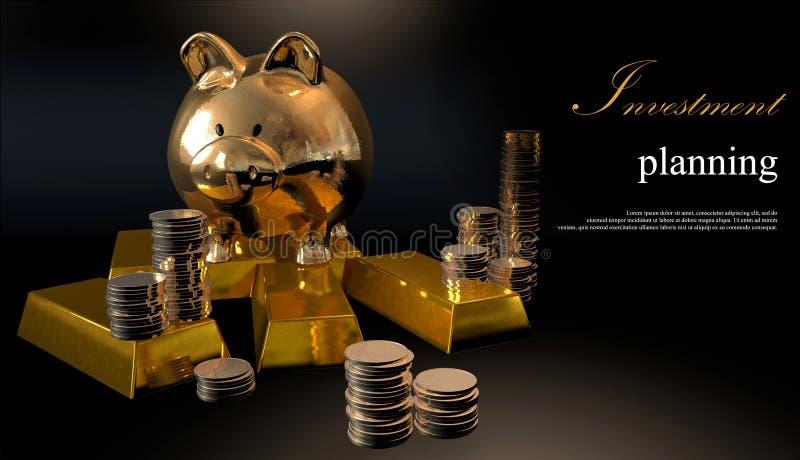 Goldsparschwein und Staplungsmünzen lizenzfreie abbildung