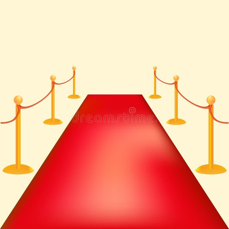 Goldsperren-Vektorillustration Roter Teppich zeremonielles vip-Ereignis oder Kopf des Staatsbesuchs lizenzfreie abbildung
