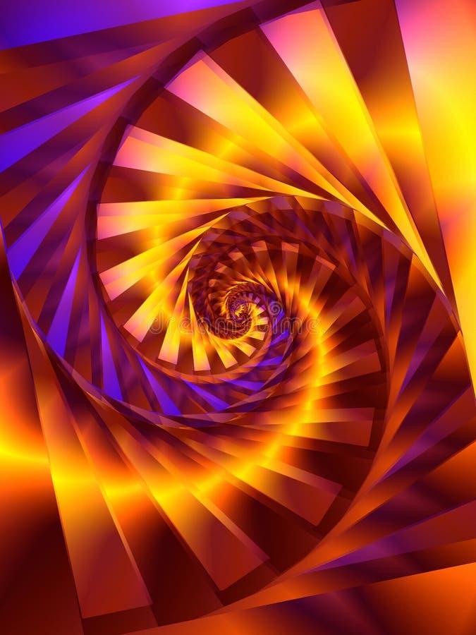 Goldspiralen-Strudel Fractal-Digital-Kunst lizenzfreies stockfoto