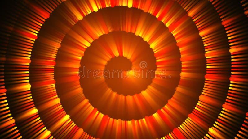 Goldspiralenstrahlen mit leuchtenden wirbelnden Scheinen, 3d, das helles kreatives rednering ist stock abbildung