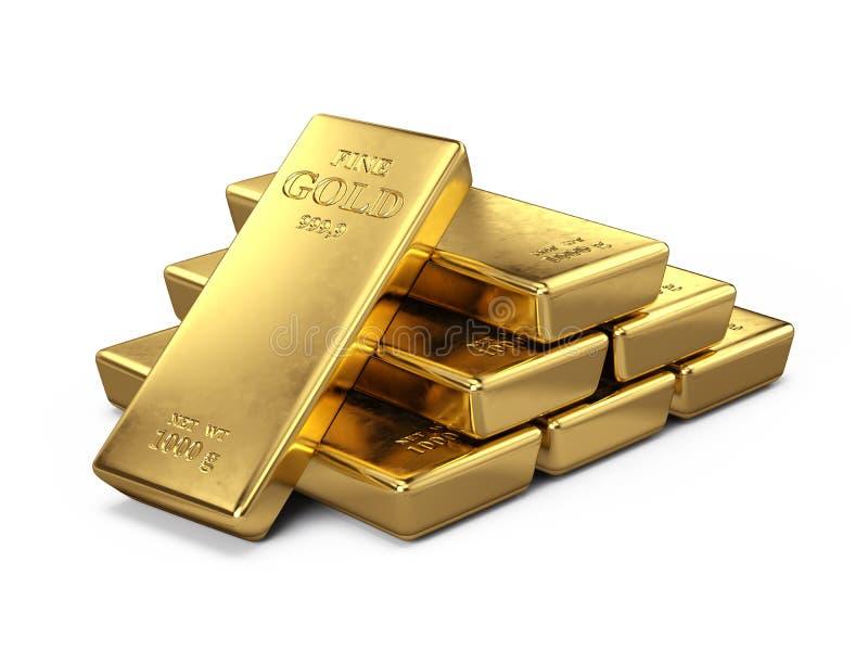 Goldstäbe getrennt auf Weiß lizenzfreie abbildung