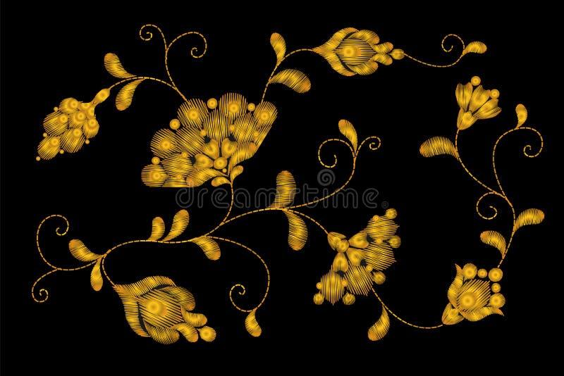 Goldstammes- Blumenstickerei Crewelflecken Goldene schwarze Blumentextilverzierung Aufwändige Illustration stock abbildung