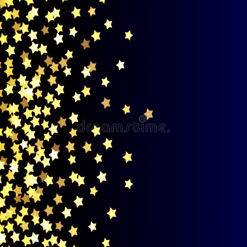 Goldsterne auf blauem, gelbem, hellem, festlichem Hintergrund, Zusammenfassung, blau, Spaß, Gold auf Dunkelheit, Steigung lizenzfreie abbildung