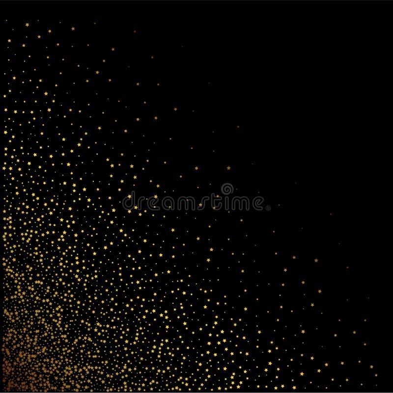 Goldsterne auf einem schwarzen Hintergrund Auch im corel abgehobenen Betrag lizenzfreie abbildung