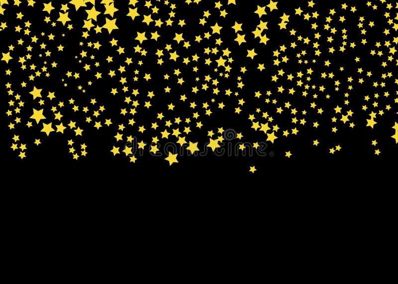 Goldsternvektor Glanzkonfettimuster Fallende goldene Sterne einfacher dunkler Hintergrund EPS10 stock abbildung