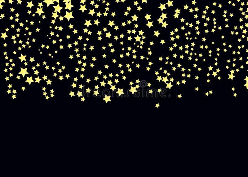 Goldsternvektor Glanzkonfettimuster Fallende goldene Sterne einfacher dunkler Hintergrund EPS10 lizenzfreie abbildung