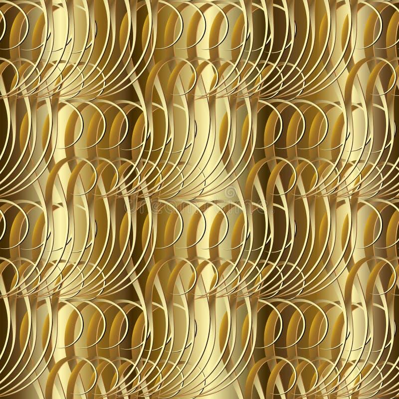 Goldstrukturiertes nahtloses Muster 3d Vektor goldenes kopiertes vinta vektor abbildung
