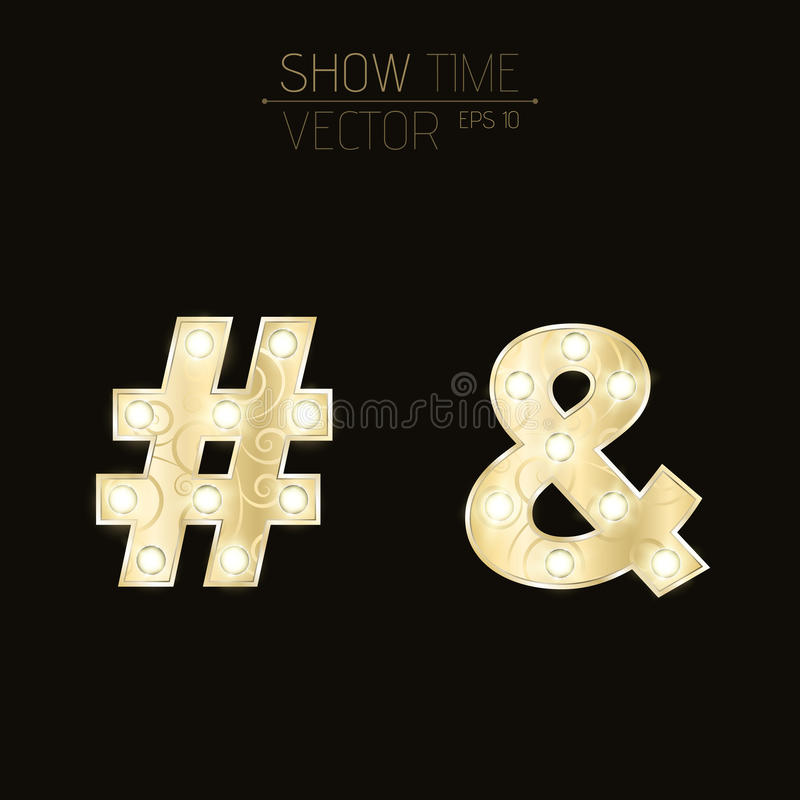 Goldsymbole mit einem Muster Etzeichen und hashtag Symbole mit Blinklichtern für Shows und Darstellungen lizenzfreie abbildung