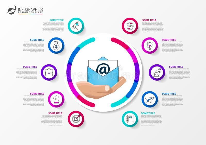 Goldtext auf dunklem Hintergrund Geschäftskonzept mit 10 Schritten Infographics lizenzfreie abbildung
