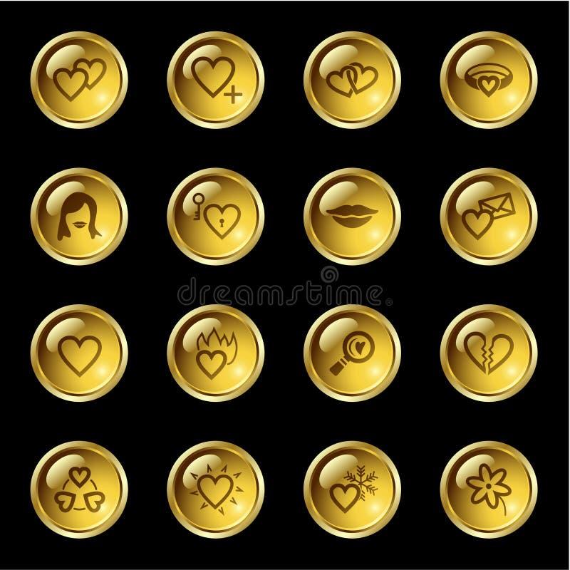 Goldtropfen-Liebesikonen stock abbildung