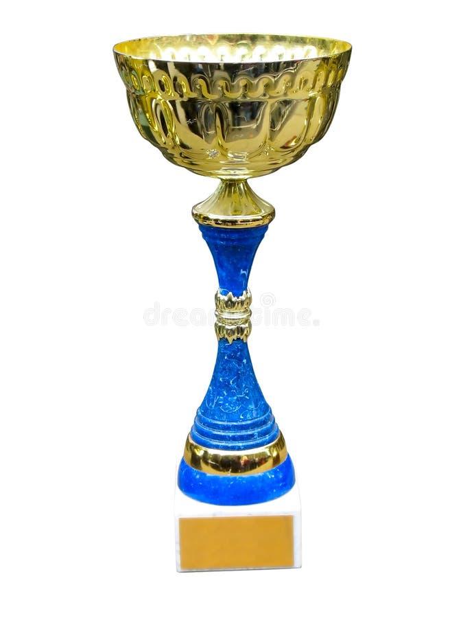 Goldtrophäecup auf Bedienpult mit Leerzeichen stockfoto