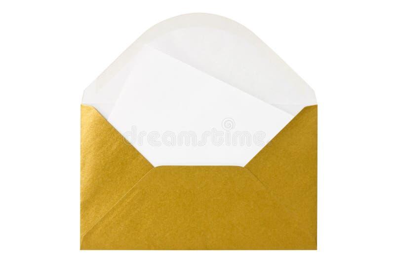 Goldumschlag mit unbelegtem Zeichen lizenzfreie stockfotos
