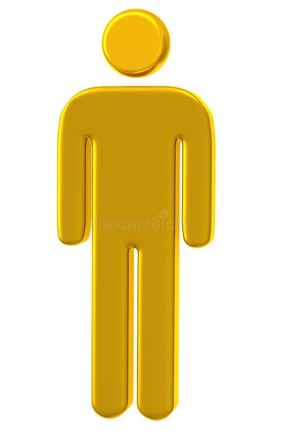 Goldunbelegte menschliche Ikone 3d vektor abbildung