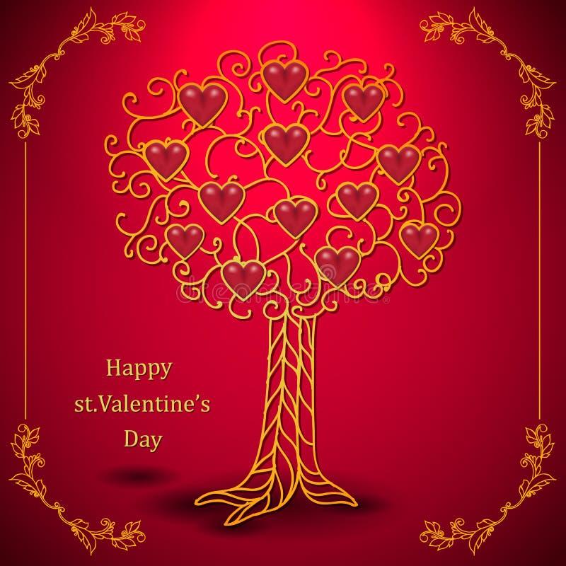 Goldvalentinsgrußtagesbaum geschmiedet mit Herzen vektor abbildung