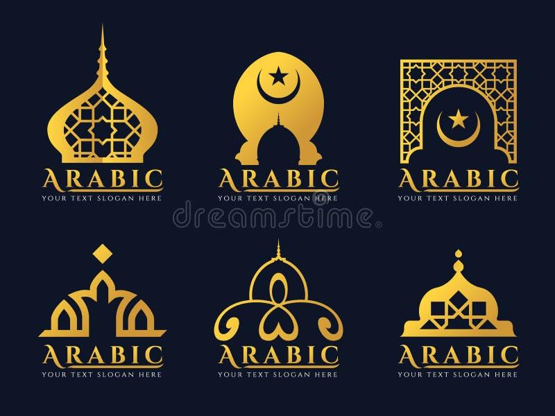 Goldvector arabisches Tür- und -moscheenarchitekturkunstlogo Bühnenbild stock abbildung