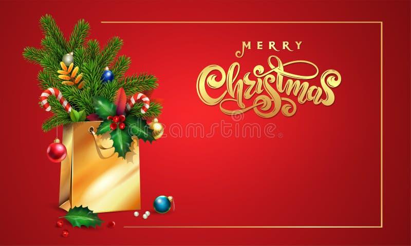 Goldvektorhand gezeichnet, Text frohe Weihnachten beschriftend 3d Einkaufstasche, Fichte, Tannenzweige, Weihnachtsspielwaren, bun lizenzfreie abbildung