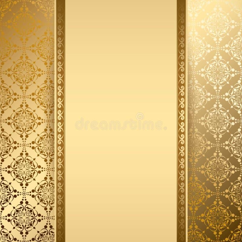 Goldvektorhintergrund mit Weinlesemuster stock abbildung