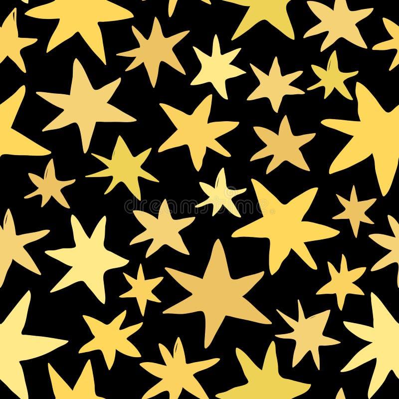 Goldvektorsterne auf Vektor-Musterentwurf des schwarzen Hintergrundes nahtlosem stock abbildung