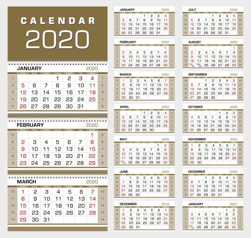 Goldwand-Viertelkalender 2020 Wochenanfang von Sonntag, mit Kalenderwochen lizenzfreie abbildung