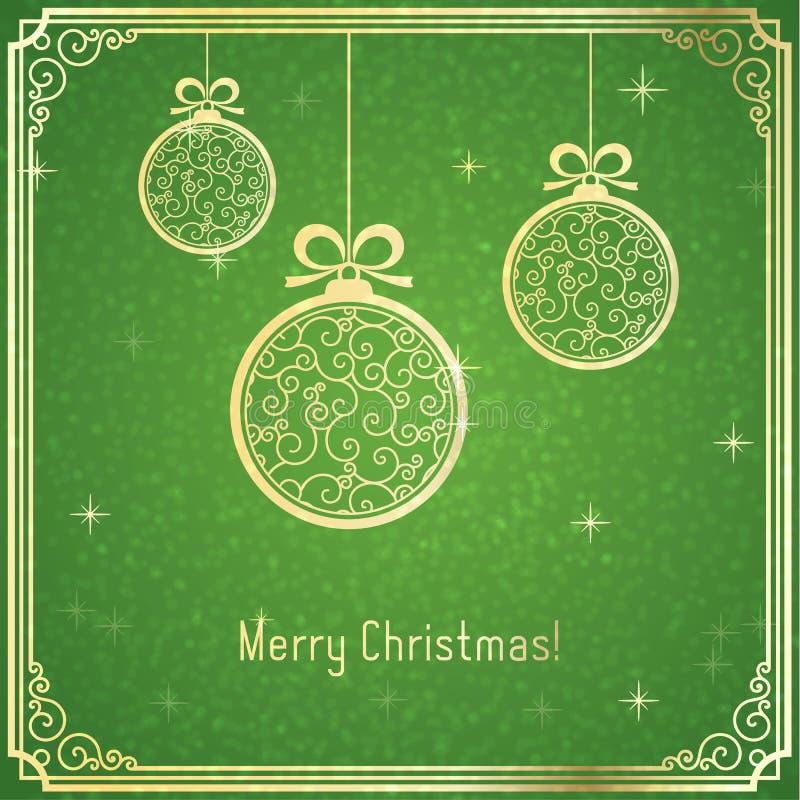 Goldweihnachtsbälle, mit Strudelmuster und glänzend auf grünem Hintergrund lizenzfreie abbildung