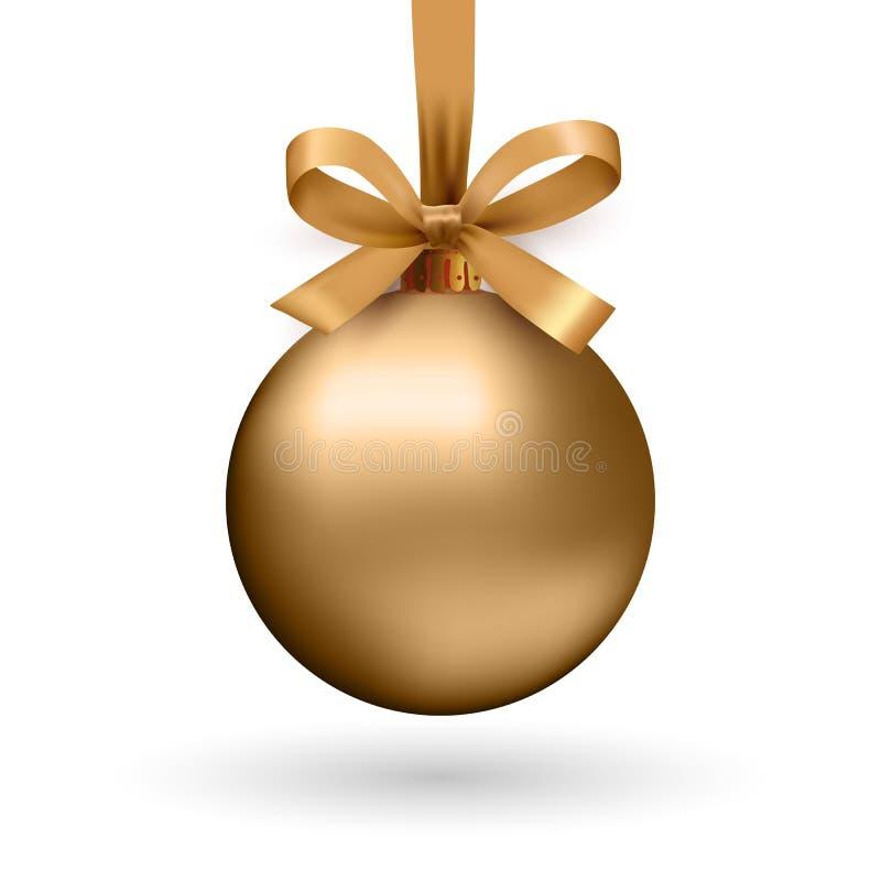 Goldweihnachtsball mit Band und einem Bogen stock abbildung