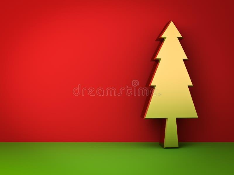 Goldweihnachtsbaum auf rotem und grünem Hintergrund mit Schatten für Weihnachtsdekoration stock abbildung