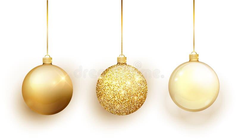 Goldweihnachtsbaum-Spielzeugsatz lokalisiert auf weißem Hintergrund Strumpf-Weihnachtsdekorationen Vektorgegenstand für Weihnacht lizenzfreie abbildung