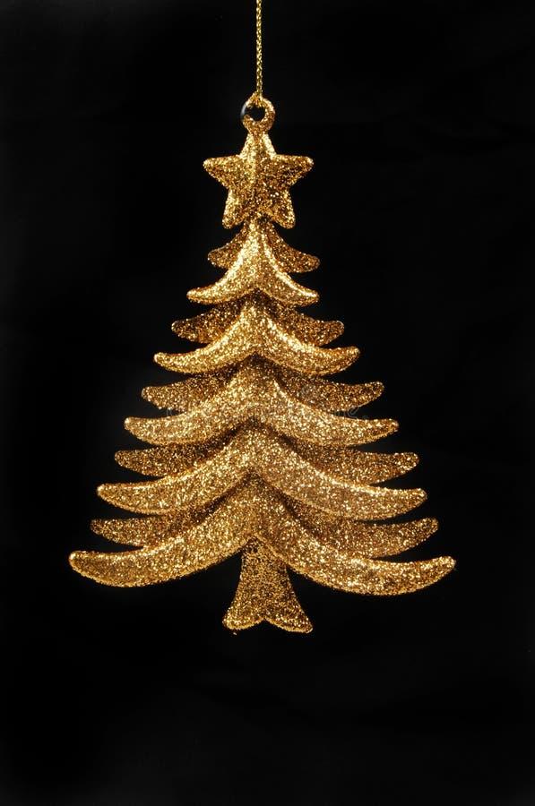 Goldweihnachtsbaumdekoration stockbild