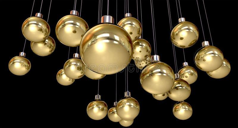 Goldweihnachtsflitter-Hängen vektor abbildung