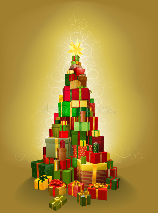Goldweihnachtsgeschenk-Baum Abbildung vektor abbildung