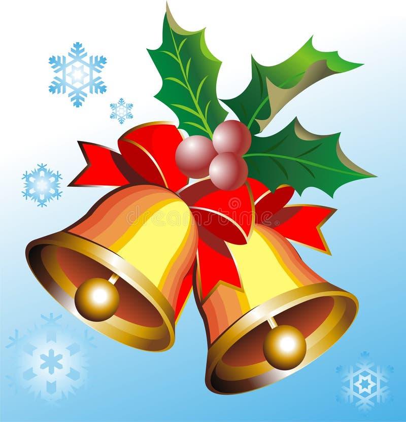 Goldweihnachtsglocken lizenzfreie abbildung