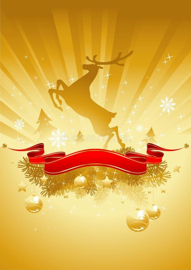Goldweihnachtskarte mit Weihnachtsbaum vektor abbildung